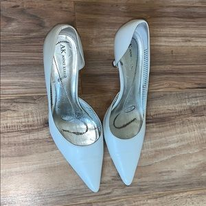White pointed toe high heel